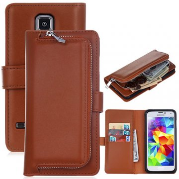 Samsung Galaxy S5 Detachable Magnetic Zipper Pocket Case Brown