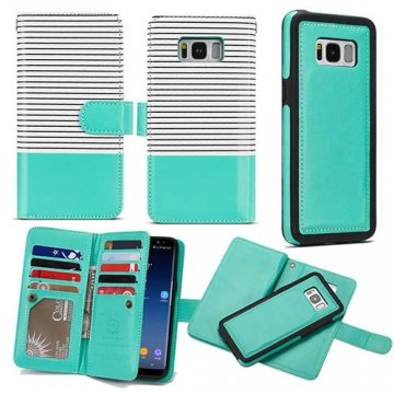 BRG Samsung Galaxy S9 Wallet Stripe Leather Case White + Green