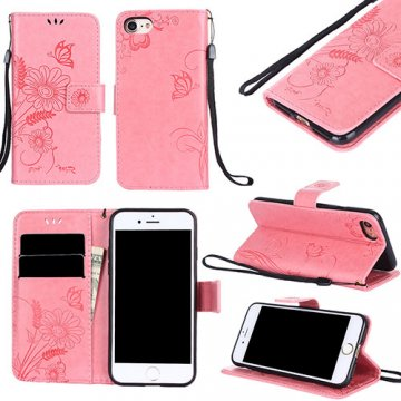iPhone 7 Wallet Embossed Ant Flower Design Stand Case Pink