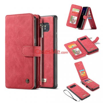 CaseMe Samsung Galaxy Note 8 Zipper Wallet Detachable Flip Case Red