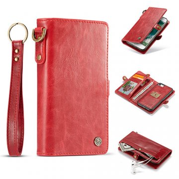 CaseMe iPhone 7 Wallet Retro Style Case With Wrist Strap Red