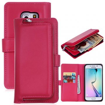 Samsung Galaxy S6 Edge Detachable Magnetic Zipper Pocket Case Rose