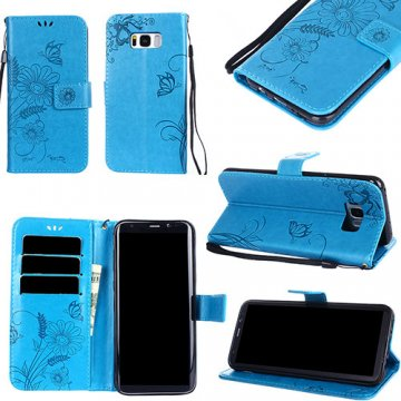 Samsung Galaxy S8 Plus Embossed Ant Butterfly Design Wallet Case With Wristlet Blue