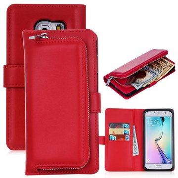 Samsung Galaxy S6 Detachable Magnetic Zipper Pocket Case Red