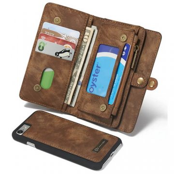 CaseMe iPhone 7 Zipper Wallet Detachable 2 in 1 Folio Case Brown