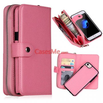 BRG iPhone 8 Litchi Pattern Zipper Wallet Detachable Case Pink