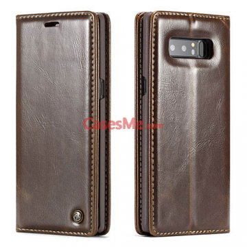 CaseMe Samsung Galaxy Note 8 Wallet Magnetic Flip Case Brown