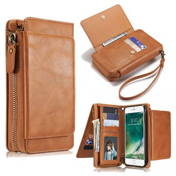 iPhone 6S Plus/6 Plus Wallet Detachable Magnetic Case With Wrist Strap Brown