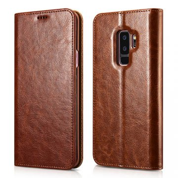 XOOMZ Samsung Galaxy S9 Plus Stand Wallet Leather Folio Case Brown