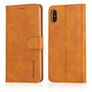 LC.IMEEKE iPhone X Wallet Stand Leather Case Yellow