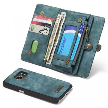 CaseMe Samsung Galaxy S7 Zipper Wallet Detachable 2 in 1 Folio Case Green