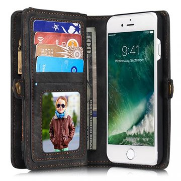 CaseMe iPhone 7 Zipper Wallet Detachable 2 in 1 Folio Case Black