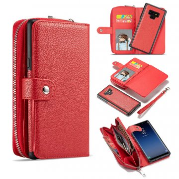 BRG Samsung Galaxy Note 9 Litchi Texture Zipper Wallet Magnetic Detachable 2 in 1 Case Red