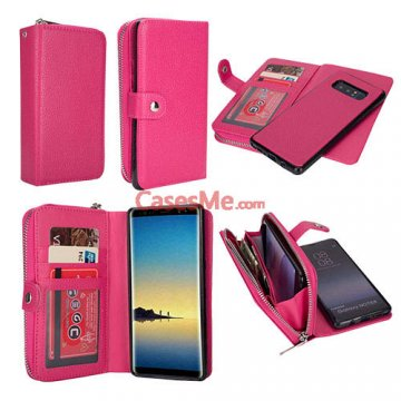 BRG Samsung Galaxy Note 8 Zipper Wallet Litchi Pattern Case Rose