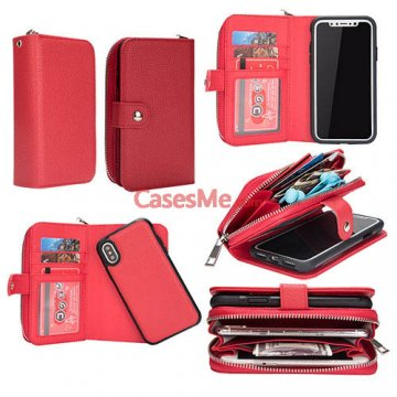 BRG iPhone X Litchi Pattern Zipper Wallet Detachable Case Red