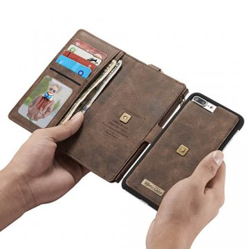 CaseMe 009 iPhone 7 Plus Zipper Wallet Metal Buckle Detachable Folio Case Coffee