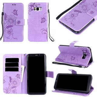 Samsung Galaxy S8 Plus Embossed Ant Butterfly Design Wallet Case With Wristlet Lavender