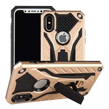 Apple iPhone X Armor Hybrid Shockproof Stand Case Gold