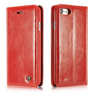 CaseMe iPhone 7 Business Style Magnetic Flip Wallet Case Red