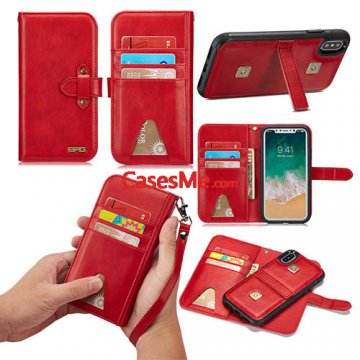 BRG iPhone X Wallet Detachable Case with Wrist Strap Red