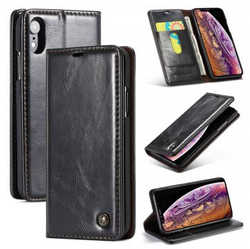CaseMe iPhone XR Wallet Magnetic Flip Stand Leather Case Black