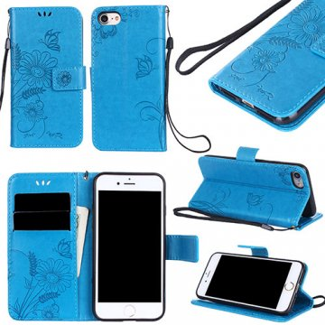 iPhone 8 Wallet Embossed Ant Flower Design Stand Case Blue