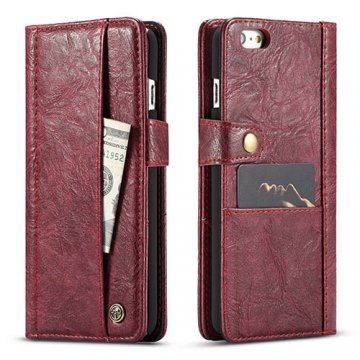 CaseMe iPhone 6/6S Retro Slot Cards Wallet Leather Case Red