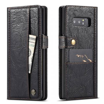 CaseMe Samsung Galaxy Note 8 Retro Wallet Leather Case Black