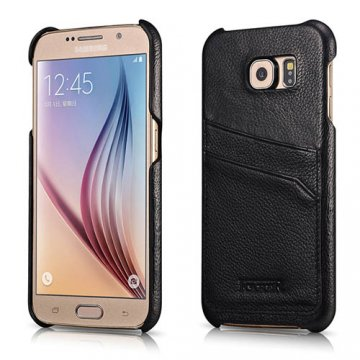 ICARER Litchi Pattern Card Slot Back Cover Series For Samsung Galaxy S6