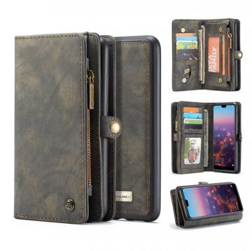 CaseMe Huawei P20 Zipper Wallet Detachable 2 in 1 Folio Case Black
