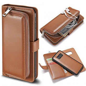 Samsung Galaxy S8 Detachable Magnetic Zipper Pocket Case Brown