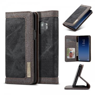 CaseMe Samsung Galaxy S9 Canvas Wallet Leather Case Black