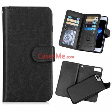 BRG iPhone 8 Plus Wallet 9 Card Slots Detachable Magnetic Case Black