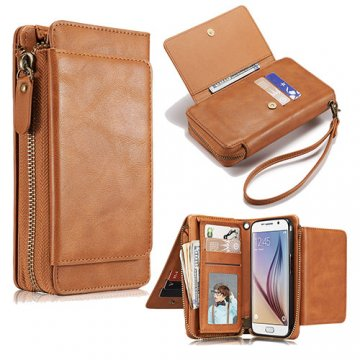 Samsung Galaxy S6 Edge Wallet Detachable Magnetic Case Brown