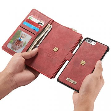 CaseMe 009 iPhone 7 Plus Zipper Wallet Metal Buckle Detachable Folio Case Red