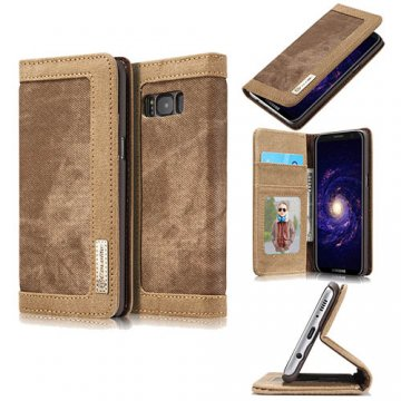 CaseMe Samsung Galaxy S8 Plus Canvas Wallet PU Leather Stand Case Brown