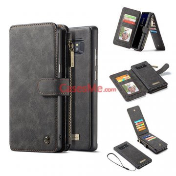 CaseMe Samsung Galaxy Note 8 Zipper Wallet Detachable Flip Case Black