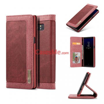 CaseMe Samsung Galaxy Note 8 Canvas Wallet Magnetic Case Red