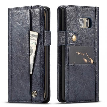 CaseMe Samsung Galaxy S7 Edge Retro Wallet Leather Case Blue