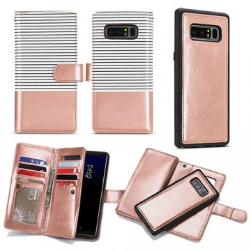 BRG Samsung Galaxy Note 8 Wallet Stripe Leather Case White + Gold