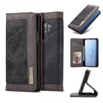 CaseMe Samsung Galaxy S9 Plus Canvas Wallet Case Black
