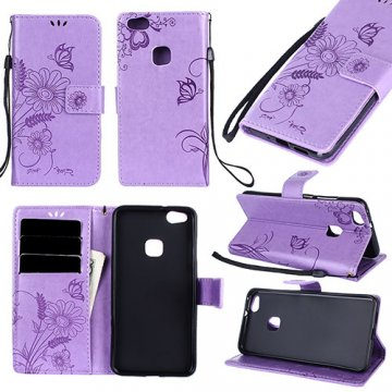 Huawei P10 Lite Wallet Embossed Ant Flower Design Stand Case Lavender