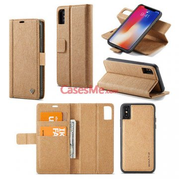 WHATIF iPhone X Wallet Detachable 2 in 1 Stand Case Brown
