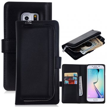 Samsung Galaxy S6 Edge Detachable Magnetic Zipper Pocket Case Black