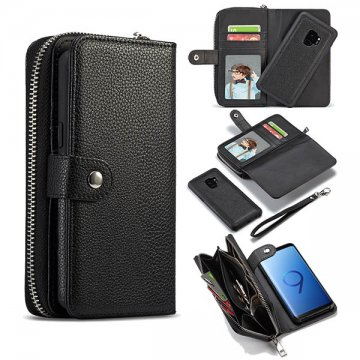 BRG Samsung Galaxy S9 Plus Litchi Pattern Zipper Wallet Case Black
