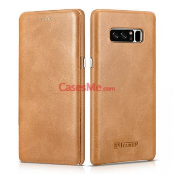 ICARER Samsung Galaxy Note 8 Curved Edge Vintage Case Khaki