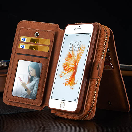 BRG iPhone 6S Plus/ 6 Plus Multi-functional 2 in 1 Zipper Wallet Leather Detachable Magnetic Case Cover