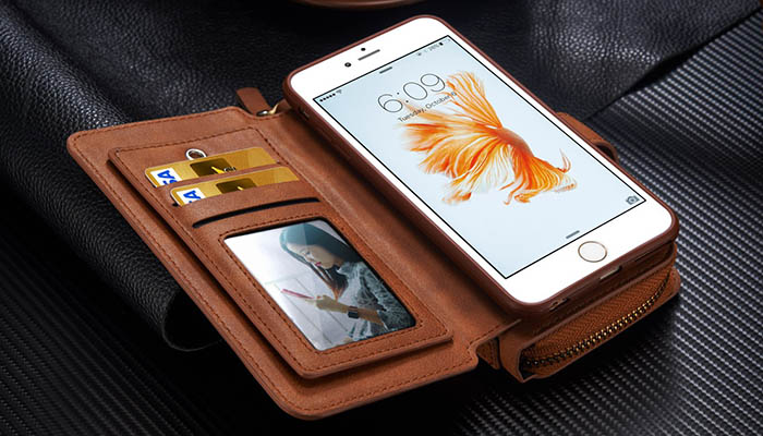 BRG iPhone 6S Plus/6 Plus Multi-functional 2 in 1 Zipper Wallet Leather Detachable Magnetic Case Cover