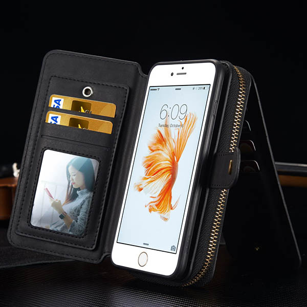 BRG iPhone 6S/ 6 Multi-functional 2 in 1 Zipper Wallet Leather Detachable Magnetic Case Cover