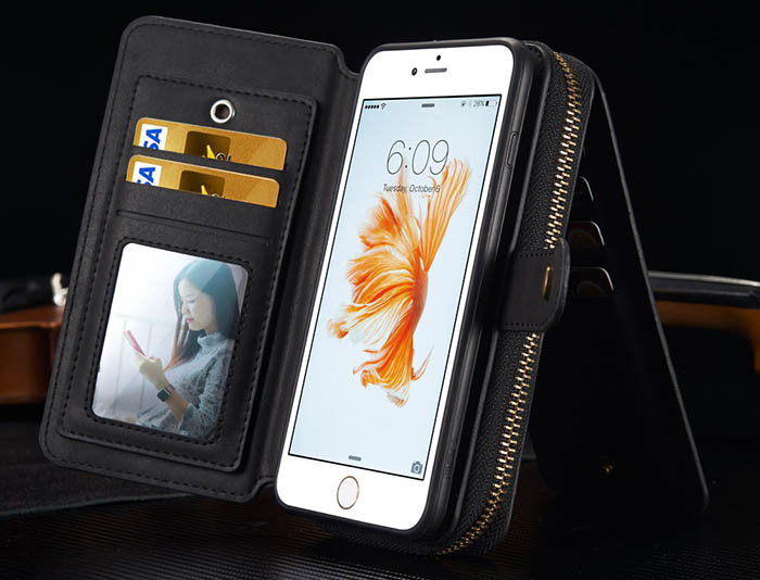 BRG iPhone 6S/6 Multi-functional 2 in 1 Zipper Wallet Leather Detachable Magnetic Case Cover